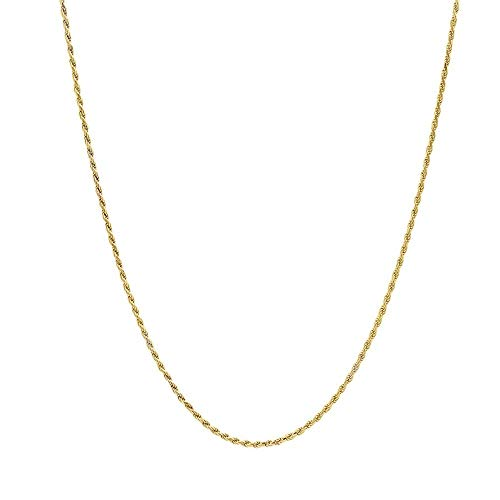 10K Gold Diamond Cut Rope 1.5MM - 4MM Gold Chain Necklace For Men And Women- 16-30, Lobster Clasp, Twist Braided Jewelry Gadget, Perfect For Pendants, 16-30 Inch… (24.00, 1.5MM)