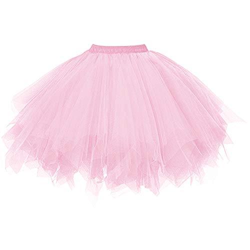DresseverBrand Damen Petticoat 50er Rockabilly Jahre Retro Tutu Ballet Tüllrock Cosplay Crinoline Rosa Small/Medium