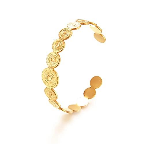 WILD SUN Armreif Damen Gold |Goldene Bangle Armspange Sonne Offen |Offener Armschmuck für Frauen I Hochwertige Armreifen aus 316l Edelstahl mit 18K vergoldet