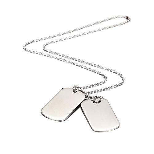 MicVivien Herren Halskette Dog Tag aus Edelstahl Fahrrad Motorradfahrer Einstellbare Kette Geschenk für Jungen Silber Schwarz