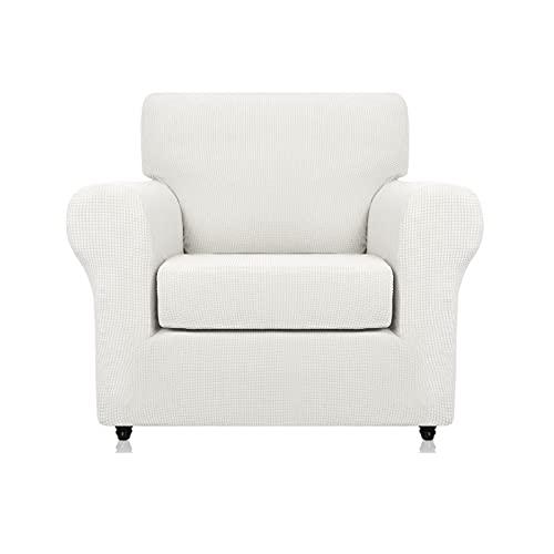 Kitlay Funda para sillón de alta elasticidad, 2 piezas, protector de silla texturizado para 1/2/3/4 plazas (sillón, blanco)
