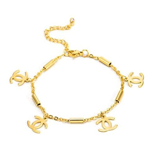 MENGHUA Simple titanio acero pulsera Ins moda temperamento doble letra C multicolor opcional borla colgante novias la misma pulsera mujer de oro