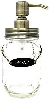 KreaSHen Mason Jar Soap Dispenser (Gold Brass) with Soap/Lotion Label Tag