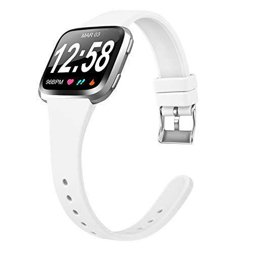 Amzpas Armband Für Fitbit Versa Armband/Fitbit Versa Lite Armband, Weiches Silikon Schmal Schlank Sport Ersatz Armband für Fitbit Versa (02 Weiß, S)