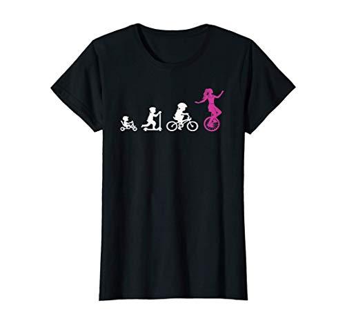 Einradfahrerin Evolution Artisten Zirkus Mädchen Einrad T-Shirt