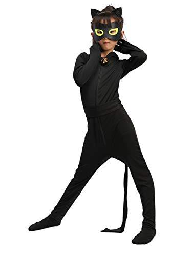 Yigoo Ladybug und Cat Noir Kostüm Set Jungen Kostüm Jumpsuit Kinder Halloween Karneval Schwarz Overall Party Cosplay Faschingkostüme L