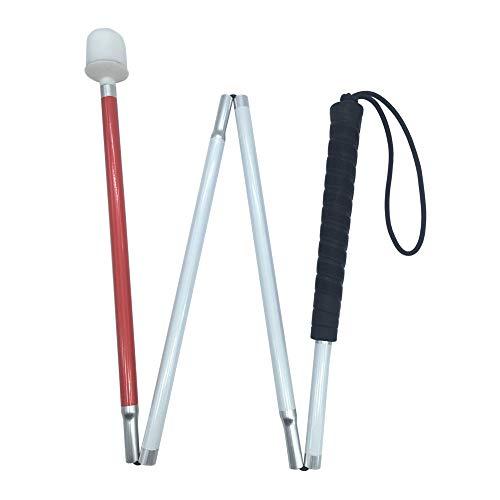 Aluminio Baston Blanco para Ciegos y Baja Vision Plegable, 4 Secciones, 100 cm (39 pulgada) Para Los Niños