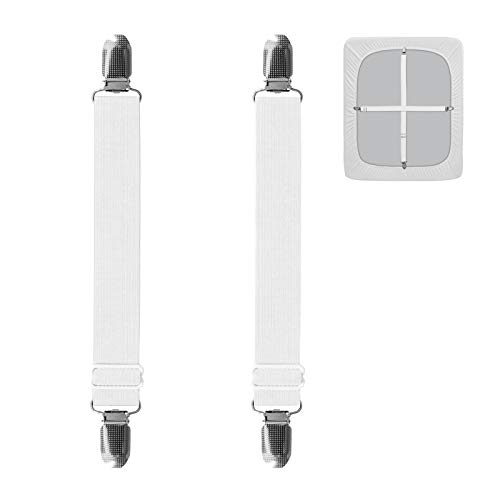Easy-Going 2Pcs Adjustable Sofa Slipcover Straps Clips,25inch, Elastic Bed Mattress Sheet Fasteners Holder and Suspenders, Grippers to Hold Sheet, Mattress Cover, Couch Cushion, Table Cloth (White)