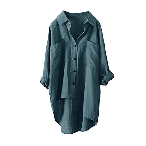 TYTUOO Blusas casuales de lino para mujer Tops manga larga botones camisas solapa longitud media sólida suelta negocios irregular estilo playa, B-verde, M