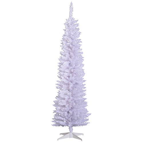 HOMCOM Unlit Slim Noble Fir Hinged Artificial Christmas Tree with Realistic Plastic Branches and 390 Tips, 6' Tall, White