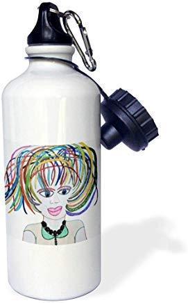 Jos Fauxtographee- Jos muñeca de imitación Sassy – Una chica con pelo corto y colroful camisa verde cuello camisa de aluminio deportes botella de agua novedad divertida para hombres mujeres niños regalos de Navidad Bithtday