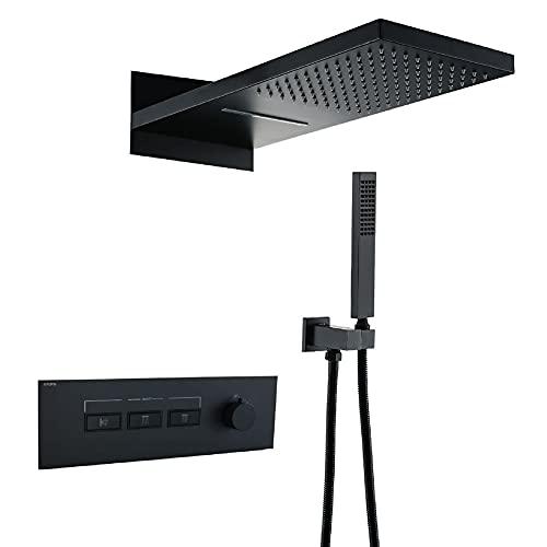 Sistema de Ducha Empotrado termostático Negro baños Kit de Ducha Fija Mezclador de baño de latón Juego de Ducha Cabezal de Ducha Fijo 14 kg