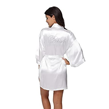 The Bund Women's Pure Colour Short Kimono Robes for Bride White Robe M Size