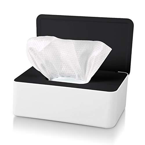 Caja para Toallitas Húmedas con Tapa,Caja Almacenamiento de Pañuelos a Prueba de Polvo,Dispensador de Toallitas Humedas para Hogar Coche Oficina (Negro (Tapa Blanca))