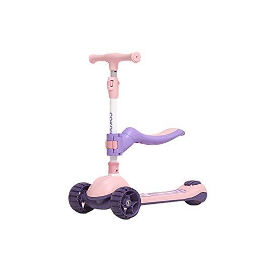ZZL Patinetes para Niños Scooter de Kick de 2 en 1 con Altura Ajustable de Asiento Plegable Y Extraíble Magro para Dirigir para Niños Pequeños Edades 2-14 Scooter (Color : Pink)
