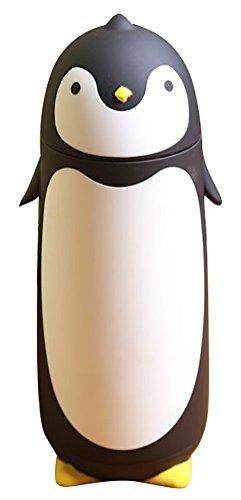 Edelstahl-Thermobecher in niedlichem Pinguin-Design 280ml  Schwarz