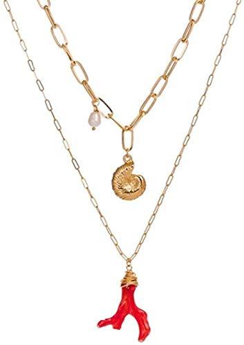 Yiffshunl Collar de Moda de Estrella de mar Dorada, Collares Largos, Colgante para Mujer, declaración, Cadena de Concha, Collares, Collar de joyería