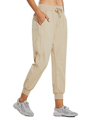 BALEAF Women's Lightweight Jogger Pants Quick Dry Hiking Pants with Pockets Travel Casual Outdoor Athletic Light Khaki M