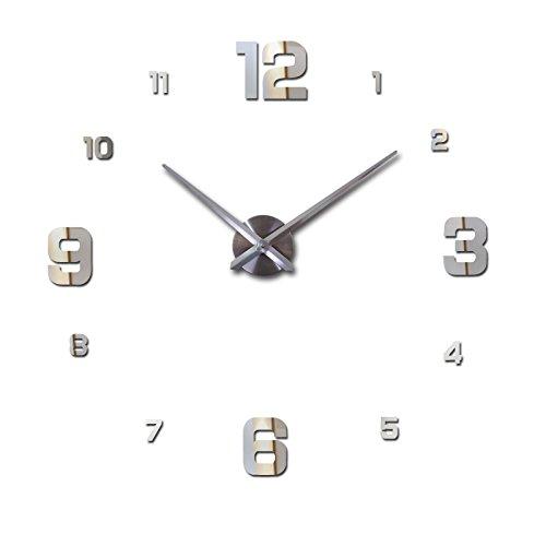 BANGHA Reloj De Pared 3D Top Fashion 3D Wall Clock Reloj de Pared Reloj Reloj DIY Acrílico Espejo Pegatinas Decoración para el hogar Sala de Estar Aguja de Cuarzo Horloge DIY Reloj de Pared
