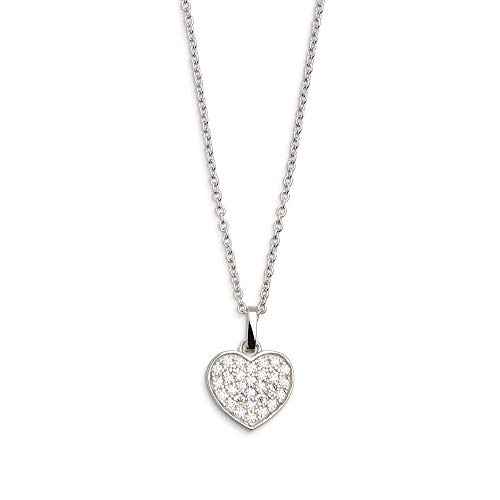 XENOX XS2790 Damen Collier Herz Love Story Sterling-Silber 925 Silber weiß Zirkonia 45 cm