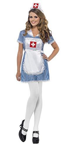 Smiffys vrouwen verpleegster ondeugend kostuum, jurk, schort en hoed