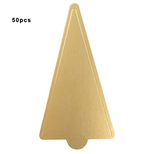Tableros de pastel de mousse, 50 piezas Tableros de pastel de cartón dorado Triángulo Cupcake Postre Muestra Bandeja Boda Pastel de cumpleaños Pastelería Kit de herramientas decorativas(82024)