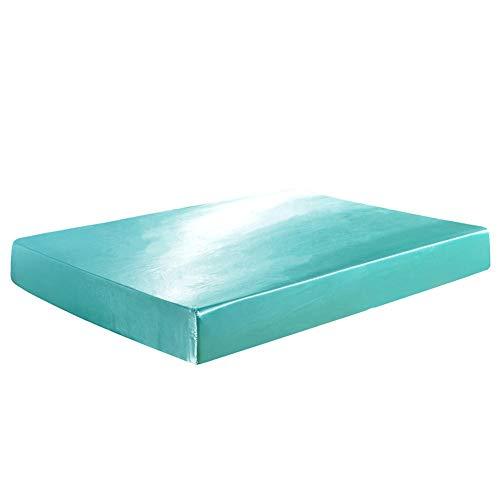 CYYyang Protector de colchón de Rizo algodón y Transpirable Funda Protectora de sábana de Color Puro-Blue_198 * 203 * 30cm