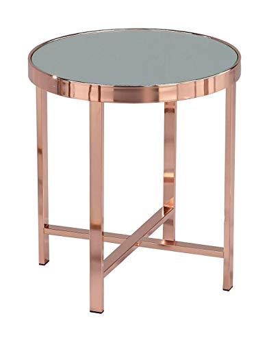 ASPECT Vasari Mirrored/Glass Round Side/Coffee/End/Lamp Table, Copper, 42.5x42.5x46 cm