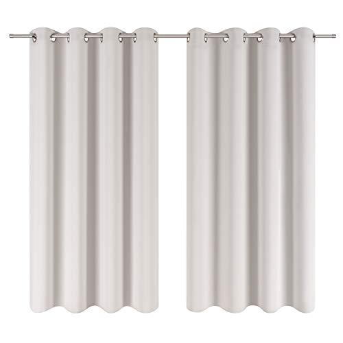 Blumtal 2er-Set Gardinen Verdunkelungsvorhang Blickdicht - Eleganter Vorhang mit Ösen für Schlafzimmer, 145 x 140 cm, Mondscheingrau