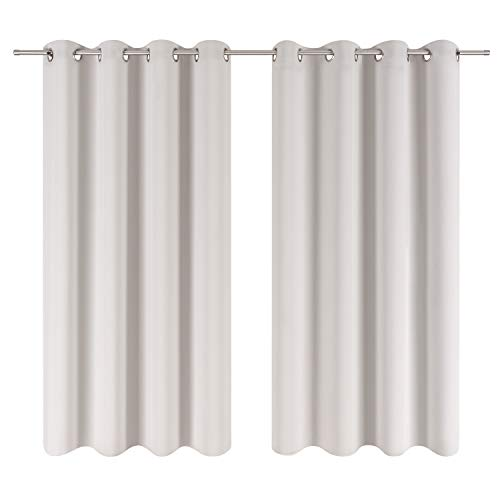 Blumtal 2er-Set Gardinen Verdunkelungsvorhang Blickdicht - Eleganter Vorhang mit Ösen für Schlafzimmer, 175 x 140 cm, Mondscheingrau