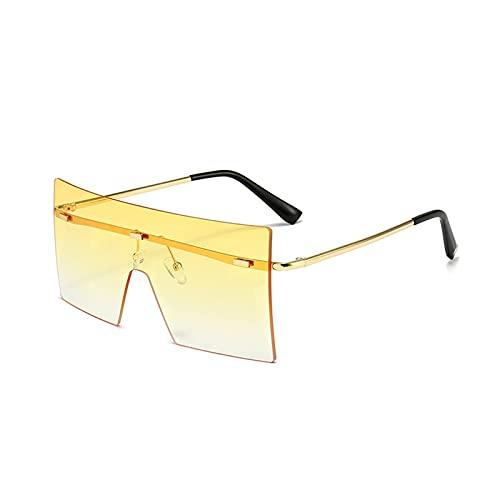 HGJINFANF Gafas de sol clásicas cuadradas de gran marco, gafas de sol coloridas sin marco, gafas de sol de moda para mujer y hombre, para acampar en la playa y ciclismo