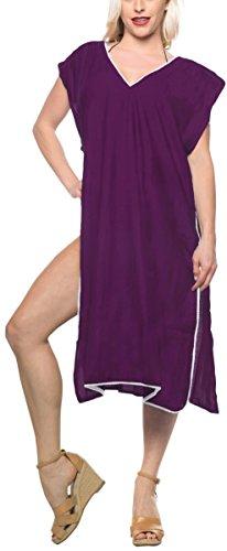 LA LEELA rayón Blusa Superior del Traje de baño Traje de baño de Las Mujeres Ocasionales Encubrir Vestido de Kimono Violeta