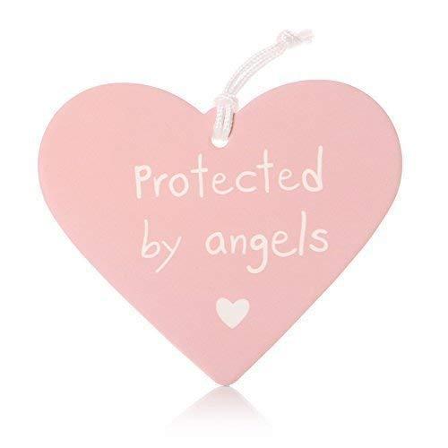 protégé par Anges bébé Suspendu Céramique Cœur - Rose