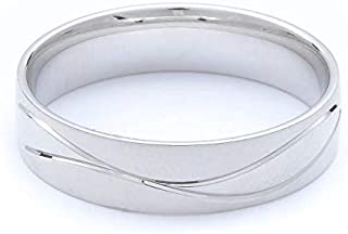 Breuning 18K White Matte & Shiny Finish Wedding Ring [BR7082]