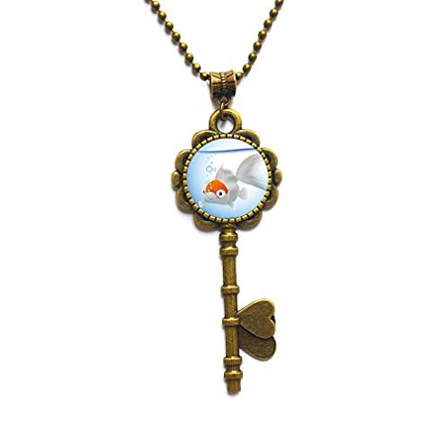 Collar con colgante de logotipo de Goldfish con imagen de animal, joyería de pescado, collar de llave de arte usable con colgante de pez dorado, PU091