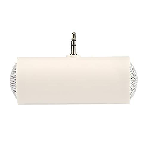 YXDS Altavoz Mini Color Blanco Reproductor de música portátil de 3,5 mm Altavoz estéreo para teléfono móvil Plástico Duradero móvil y Metal
