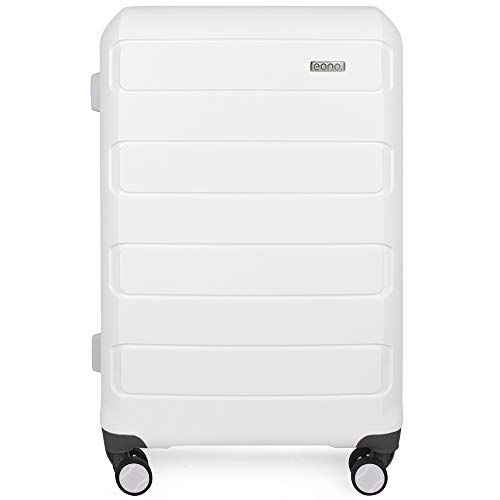 Amazon Brand - Eono Expandable Hand Luggage Hard Shell Polypropylene Anti-Scratch Cabin Carry On with Spinner Wheels and Built-in TSA Lock, 55cm, White