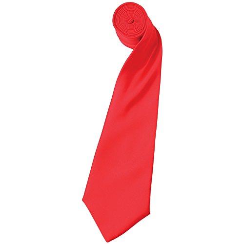 Premier Herren Satin-Krawatte, unifarben (2 Stück/Packung) (Einheitsgröße) (Erdbeerrot)