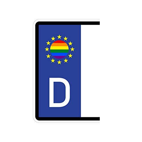 Generisch 2 Stück Kennzeichenaufkleber Regenbogen Gay Schwul Lesbisch Homosexuell Set Flaggen Aufkleber | Sticker Plakette Autoaufkleber