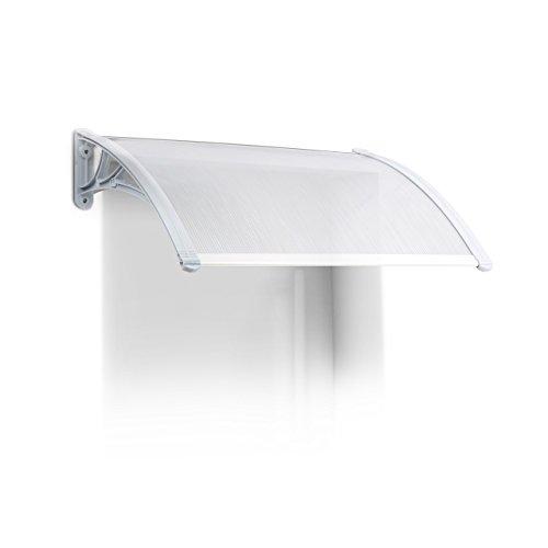 Relaxdays luifel huisdeur, kunststof, aluminium, lessenboogluifel, H x B x D: 80 x 60 cm, overkapping, transparant
