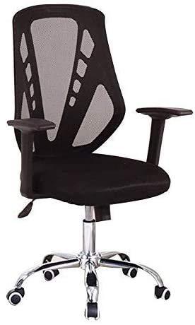 Silla de oficina Sillas de escritorio de oficina Sillas de recepción minimalistas | Silla de computadora de malla ergonómica | Silla de oficina duradera con soporte lumbar | Fácil de montar, negro