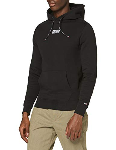 Tommy Jeans TJM Essential Graphic Hoodie Suéter, Negro (Black), X-Small Hombre