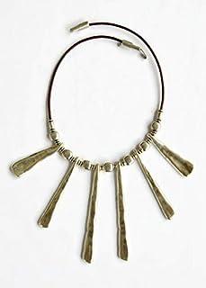 Collana con frange in zama placcata argento, gioielli casual e boho