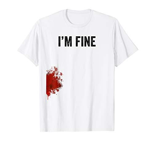 I'm Fine Graphic Zombie Slash Movie Halloween T-Shirt -  I'm Fine Graphic Zombie Slash Apparel
