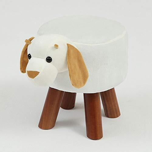BYTGK Moderner Tierhocker aus Massivholz, Fußhocker für Wohnzimmer, Sofa, Stoff, Ottomanen, Stühle, F0306 Hund