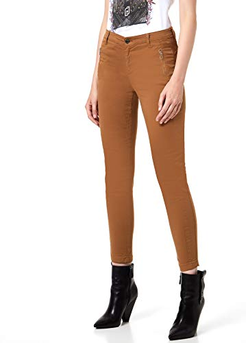 LIU JO Pantalone Stretch con Doppie Cinture W69358T8191-XO193 25, X0193 Sweet Caramel