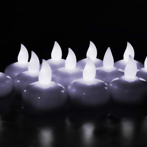 Novelty Place LED Floating Candles, Flameless Tea Lights Cool White Battery Operated - Waterproof Decoration for Wedding, Thanksgiving, Christmas, Birthday Party (24 Packs)