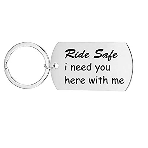 AmDxD Acero Inoxidable Llavero Hombre Ride Safe I Need You Here with Me Llaveros Plata Llavero Retro Vintage