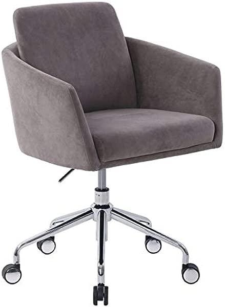 Elle D Cor Vevey Velvet Mid Back Task Chair Slate