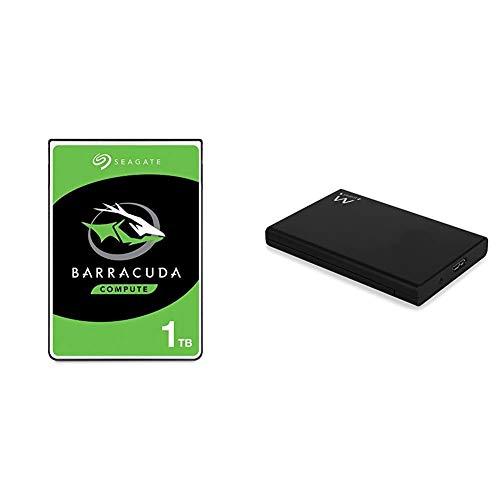 """Seagate Barracuda 1TB HDD SATA 6GB/s 5400RPM & Ewent Case Esterno per Disco Rigido HD 2,5"""" SATA e SSD HDD 9.5 mm e 7 mm, Connessione USB 3.0, Compatibile con Windows e Mac"""